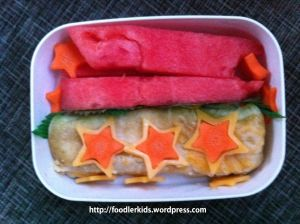 Bento Lunch: Enchilada and watermelon