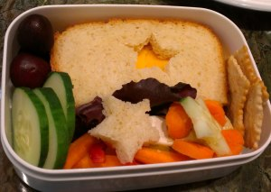 "Five Minute Bento: ""Star"" Turkey and cheese sandwich, hummus cup decorated with carrot slices and a star cucumber slice, red and yellow peppers, carrots, cucumber and cherries."