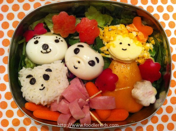 Rice bear, 2 egg bears, and Goldilocks orange pepper with cheese face and curls