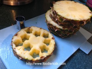 sliced pineapple used to make cutout star shape
